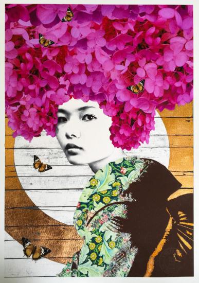 Gareth Tristan Evans - Lace Cap Flutter Too Rose Gold Leaf 1